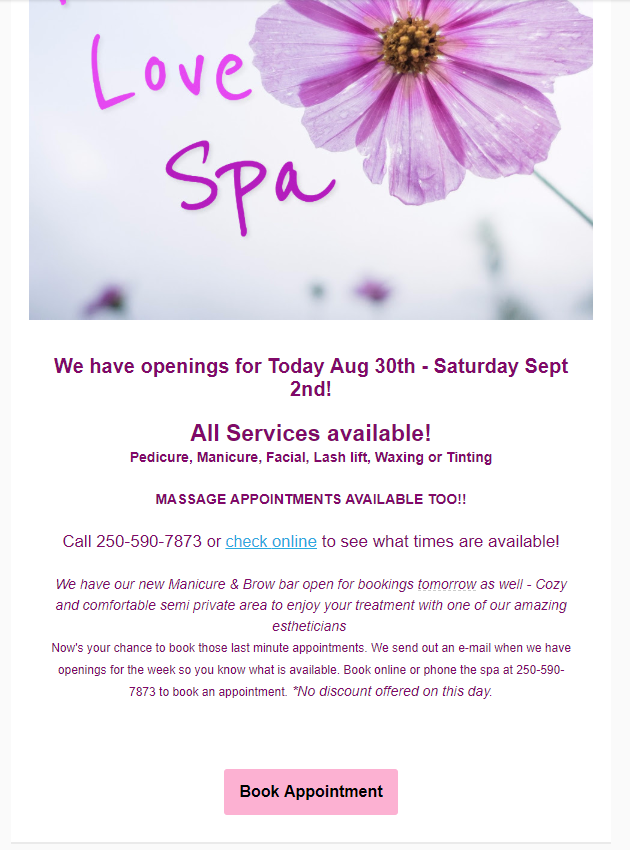 Pure Day Spa Victoria Newsletter