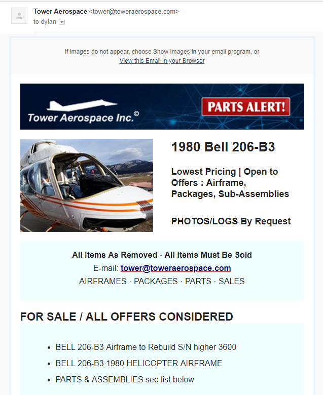 Tower Aerospace Sales Newsletter